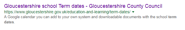 Google result for 'gloucestershire term dates'