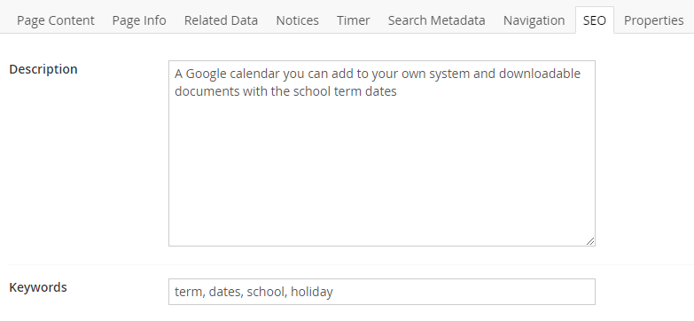 SEO tab for Term Dates