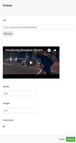 retrieved video player preview