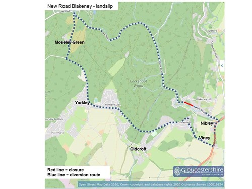 The diversion route for New Road Blakeney Landslip will take you past Nibley, Viney, Yorkley and Moseley Green.