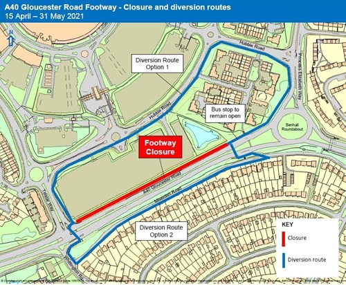 A40 Gloucester Rd Footway Closure map 15.04.21 - 31.05.21