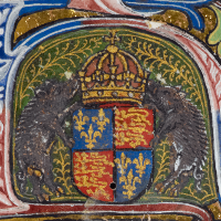 Arms of Richard III from 'Vegetius De Re Militari or Vegecy of Dedes of Knyghthode' prepared for Richard's son, c. 1483-1485 © The British Library Board, Royal MS 18 A VII