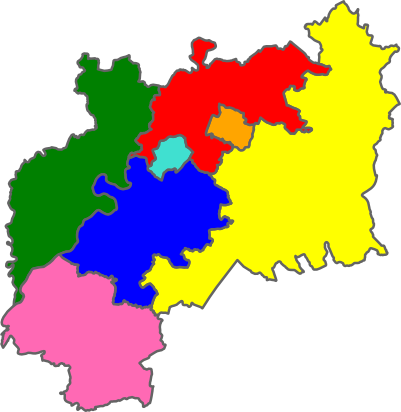 Map of the county showing the different districts