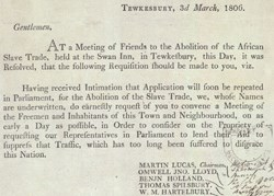 Notice about meeting at Tewkesbury against the slave trade